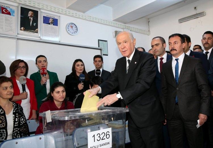 """<p><span style=""""color:#808080"""">Milliyetçi Hareket Partisi (MHP) Genel Başkanı Devlet Bahçeli, 31 Mart Mahalli İdareler Genel Seçimleri için geldiği Anıttepe Ortaokulu'nda oyunu kullandı.</span></p>"""