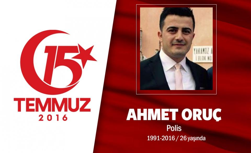 <p>Doğumları bir, şehit olmaları bir oldu. Adanalı ikiz kardeş Ahmet ve Mehmet Oruç, Adana'da Çevik Kuvvet Şube Müdürlüğü'nde görev yapıyorlardı. 6 ay arayla evlendiler, Ahmet Oruç'un eşi 7 aylık hamileydi. Helikopter pilotu eğitimi almak için Ankara'ya geldiler. 15 Temmuz gecesi Gölbaşı Özel Harekat Daire Başkanlğı'ndaydılar. Hain darbeciler, ele geçirdikleri savaş uçaklarıyla Gölbaşı Özel Harekat Daire Başkanlığı'na bomba yağdırdılar.</p>  <p></p>