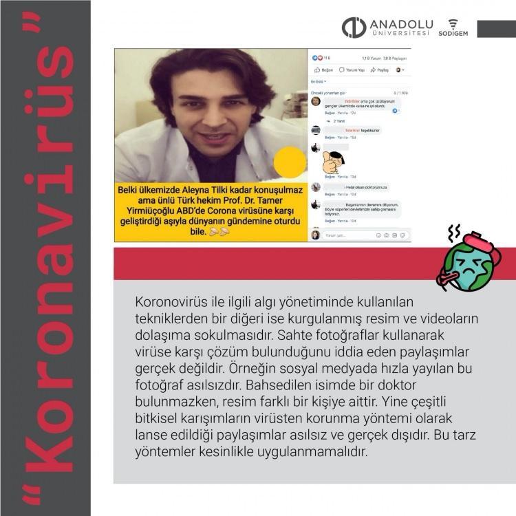 """<p>SODİGEM Bilim Kurulu da sosyal medya üzerinden korona virüsünün Türkiye'de tespit edildiği yönünde paylaşımlar konusunda uyarıda bulunup, bu tip gönderilere itibar edilmemesi belirterek, """"Yapılan açıklamalara rağmen sosyal medya platformlarında sanki virüs tespit edilmiş gibi asılsız paylaşımlar yapılmaya başlandı. Bu paylaşımlarda sosyal medya üzerinden algı yönetiminin çeşitli teknikleri uygulanıyor. Halkı korku ve infiale itici sahte mesajların, resimlerin ve görüntülerin dolaşıma sokulması bu tekniklerden bir tanesi. Bir diğer teknik ise istatistiksel olarak hatalı ve yanlış verilerin dolaşıma sokulması. Sosyal medya paylaşımlarının yanında WhatsApp uygulamasında bulunan bir ses kaydı binlerce kişiye ulaştı"""" denildi.</p>"""