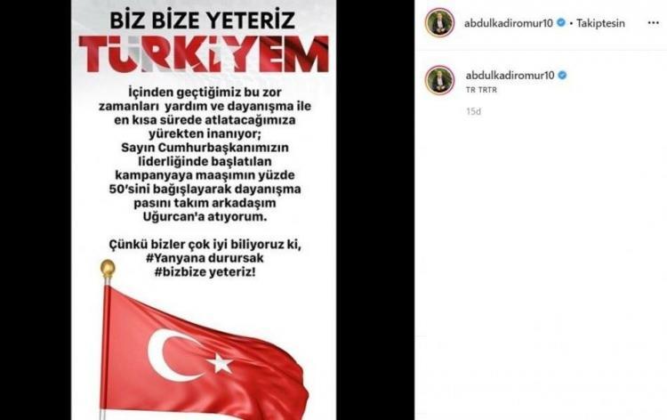 <p>Trabzonspor'un yıldızı Abdülkadir Ömür, Cumhurbaşkanı Recep Tayyip Erdoğan'ın başlattığı Milli Dayanışma Kampanyası'na maaşının yarısını bağışladığını söyledi.</p>