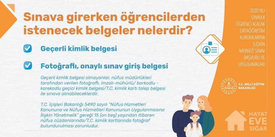 <p><strong>LGS 2020 - Sınava girerken öğrencilerde istenecek belgeler nelerdir?</strong></p>
