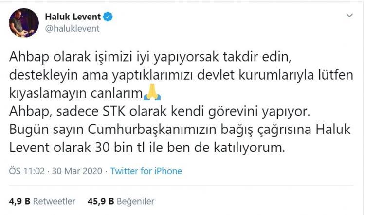 <p><strong>Ahbap Derneği'nin kurucusu sanatçı Haluk Levent, 30 bin TL bağışladığını açıkladı.</strong></p>