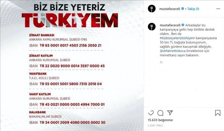 <p><strong>Ünlü sanatçı Mustafa Ceceli, 50 bin TL bağışladığını açıkladı.</strong></p>