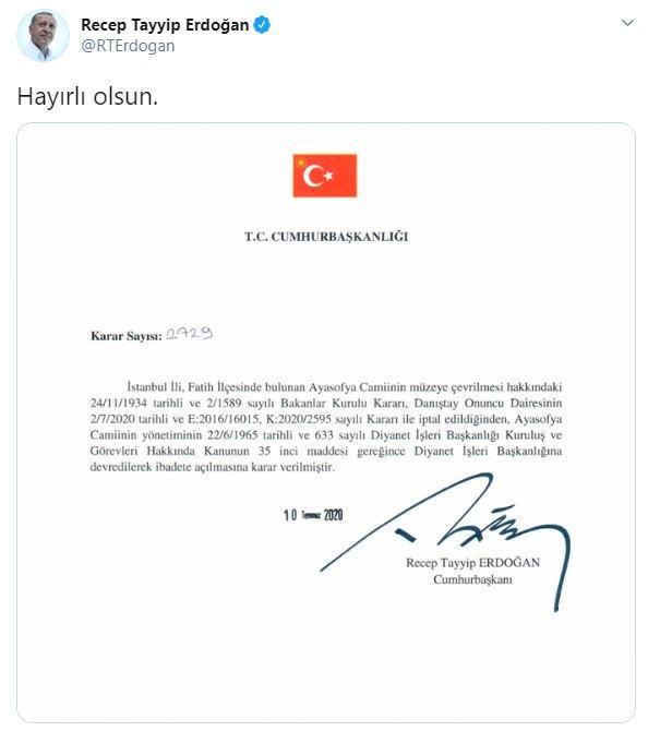 <p>Son dakika haberi: Danıştay 10. Dairesi, Ayasofya'nın camiden müzeye dönüştürülmesine dair 24 Kasım 1934 tarihli Bakanlar Kurulu kararını iptal etti. Danıştayın gerekçesinde, Ayasofya'nın Fatih Sultan Mehmet Han Vakfı mülkiyetinde olduğu, cami olarak toplumun hizmetine sunulduğu belirtildi. Tarihi kararın ardından siyasilerden ilk yorumlar geldi...</p> <p></p>
