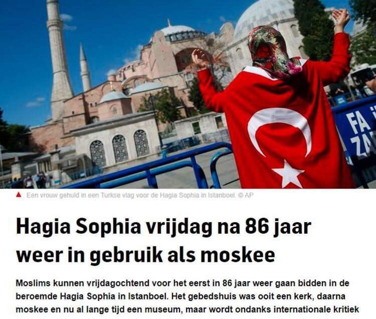 <p>Belçika`da yayın yapan AD`de ise ilk cuma namazına çok sayıda kişinin katılmasının beklendiği, ayrıca Ayasofya`nın turist ziyaretlerine de açık olacağı bilgisi yer aldı.</p>