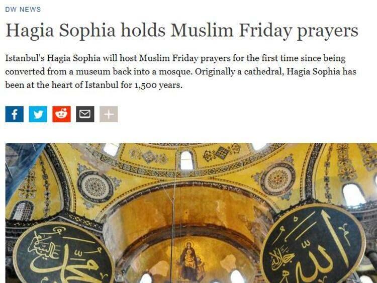 <p>Almanya merkezli DW`de ise Ayasofya`nın müzeden camiye dönüştürüldüğünden bu yana ilk kez Müslümanlara cuma namazında ev sahipliği yapacağına dikkat çekildi.</p>  <p></p>