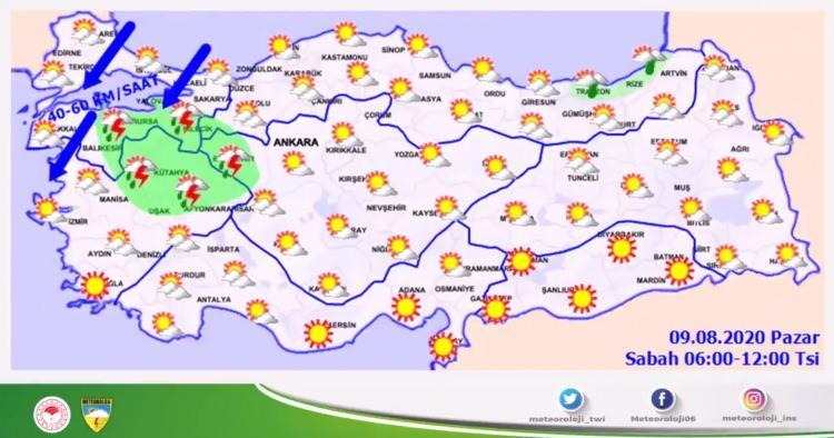 <p><strong>SAĞANAK YAĞIŞ UYARISI</strong></p>  <p>Meteoroloji Genel Müdürlüğünün duyurusuna göre, bugün ülke genelinde havanın parçalı ve yer yer çok bulutlu olacağı öngörülüyor. Marmara'nın güneydoğusu, Güney Ege, Akdeniz, Manisa, Kütahya, Uşak, Afyonkarahisar, Trabzon, Rize ve Artvin çevreleriyle İzmir ve Giresun'un iç kesimlerinde yağışların yerel olmak üzere sağanak ve gök gürültülü sağanak şeklinde görüleceği, diğer yerlerde az bulutlu ve açık olacağı tahmin ediliyor.</p>