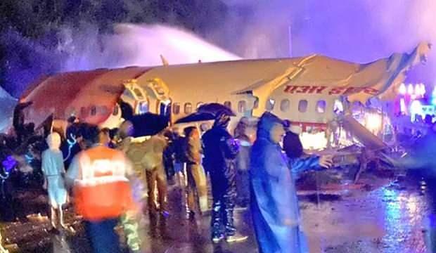 <p>Dubai'den kalkan ve 191 yolcu taşıyan Hindistan Havayolları Air India, Calicut Havalimanında kaza yaptı.</p>