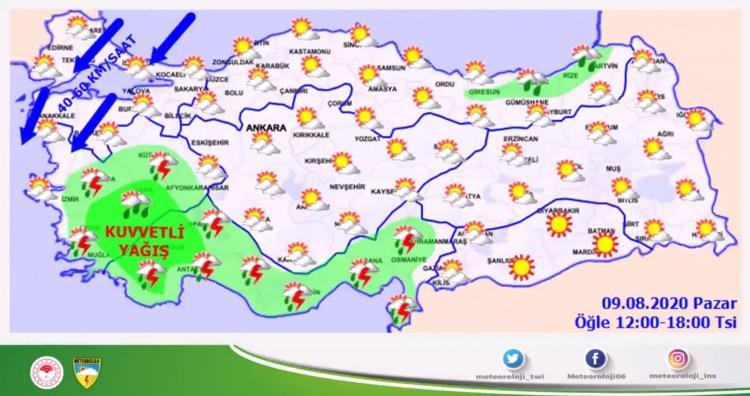 <p><strong>BAZI İLLERDE ÖĞLEDEN SONRA ŞİDDETLİ OLACAK</strong></p>  <p>Yağışların, öğle saatlerinden sonra Denizli, Uşak ve Burdur çevreleri ile Aydın ve Muğla'nın iç kesimleri, Antalya'nın batısının iç kesimleri (Korkuteli, Elmalı, Döşemealtı) ve Isparta'nın güney ilçelerinde yerel olarak kuvvetli (kilograma 21-50 metrekare) olması bekleniyor.</p>