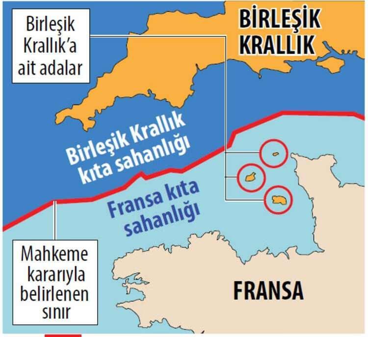 <p><strong>1) İNGİLTERE-FRANSA ANLAŞMAZLIĞI:</strong></p>  <p>İki ülke arasında Manş Denizi'ndeki anlaşmazlığın görüldüğü uluslararası tahkim davasında, Fransa kıyılarına oldukça yakın konumdaki Birleşik Krallık'a bağlı adalarının kıta sahanlığına sahip olamayacağı, sadece karasuları hakkı kazanabileceği belirtildi. Örnek olarak, Birleşik Krallık'a bağlı, 2011 nüfus sayımına göre 98 bin nüfuslu ve Fransa'nın Normandiya bölgesine sadece 25 kilometre uzaklıktaki Jersey Adası'nın sadece karasularına sahip olabileceği belirtildi.</p>