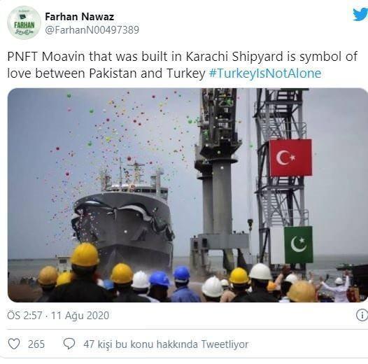 <p></p>  <p>Türkiye tarafından Karaçi Limanı'nda inşa edilen geminin fotoğrafını paylaşan başka bir Pakistanlı kullanıcı ise 'bunun iki ülke arasındaki sevginin sembolü' olduğunu belirtti.</p>  <p></p>  <p>.</p>  <p></p>  <p>.</p>