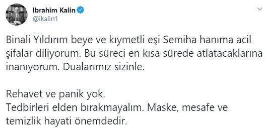 <p>Eski Başbakan ve AK Parti İzmir Milletvekili Binali Yıldırım, ve eşi Semiha Yıldırım'ın Kovid-19 testinin pozitif çıktığını öğrenildi. Testinin pozitif çıkması sonrası birçok siyasi isim Binali Yıldırım'a geçmiş olsun dileklerini iletti.</p>  <p></p>