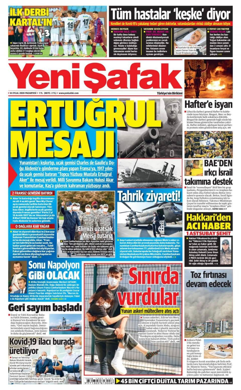 14 Eylül gazete manşetleri - Resim 1