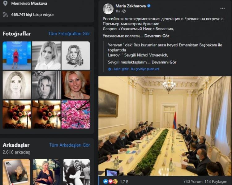 Mariya Zaharova'nın Ermenistan paylaşımına Ruslar isyan etti