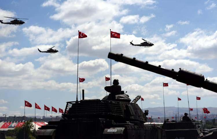 <p><strong>4. Türkiye</strong></p>  <p>Toplam nüfus: 81,257,239<br /> <br /> Mevcut insan gücü: 41,847,478<br /> <br /> Toplam askeri personel: 735,000<br /> <br /> Aktif personel: 355,000<br /> <br /> Toplam hava gücü: 1,067<br /> <br /> Savaş tankları: 3,200<br /> <br /> Zırhlı Savaş Aracı: 9,500<br /> <br /> Toplam deniz varlıkları: 194<br /> <br /> Savunma bütçesi: 8,6 milyar dolar</p>
