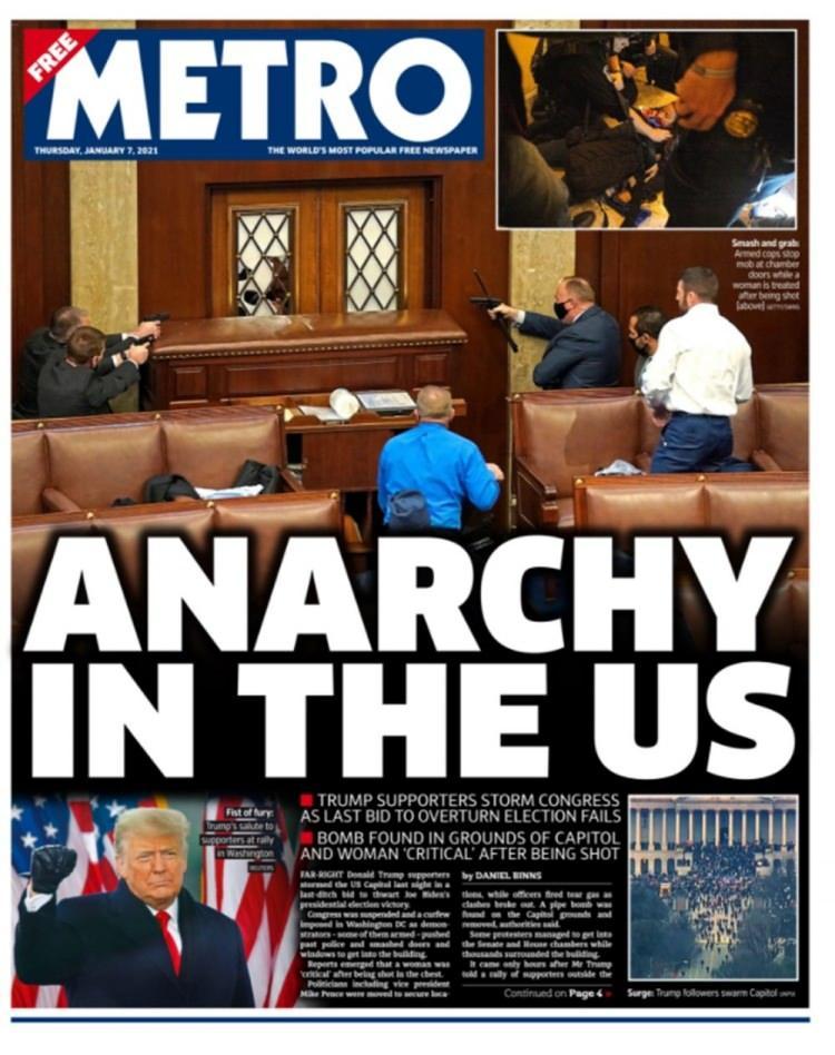 """<p>ABD'DE ANARŞİ</p>  <p>İngiliz metro gazetesi, ABD Kongresi'nde silahların çekildiği bir fotoğrafla birlikte, """"ABD'de Anarşi"""" başlığını attı.</p>"""