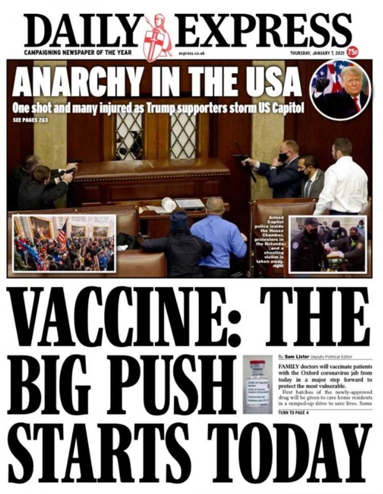 """<p>Daily Express gazetesi de Metro'ya benzer bir şekilde olayı """"ABD'de Anarşi"""" manşetiyle duyurdu.</p>"""