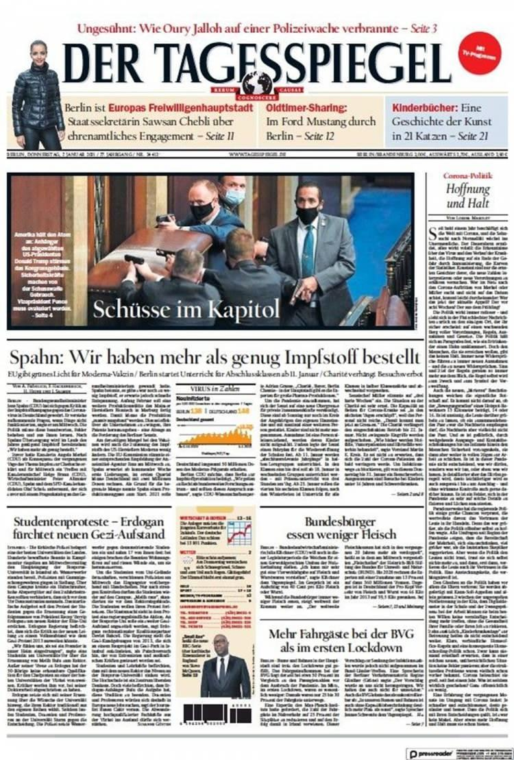 """<p>Der Tagesspiegel gazetesi ise """"Kongre'de çekişme"""" manşetiyle haberini ön sayfasından verdi.</p>"""