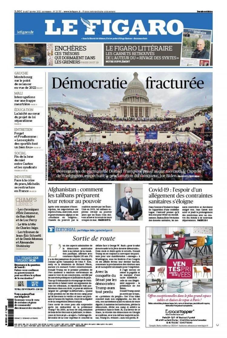 """<p>LE FİGARO: KIRIK DEMOKRASİ</p>  <p>Fransız Le Figaro gazetesi, Trump desteklçilerinin Kongre'ye akın etmesini Joe Biden'a bir saldırı olarak niteleyerek, manşetinde """"krık demokrasi"""" ifadlerini kullandı.</p>"""