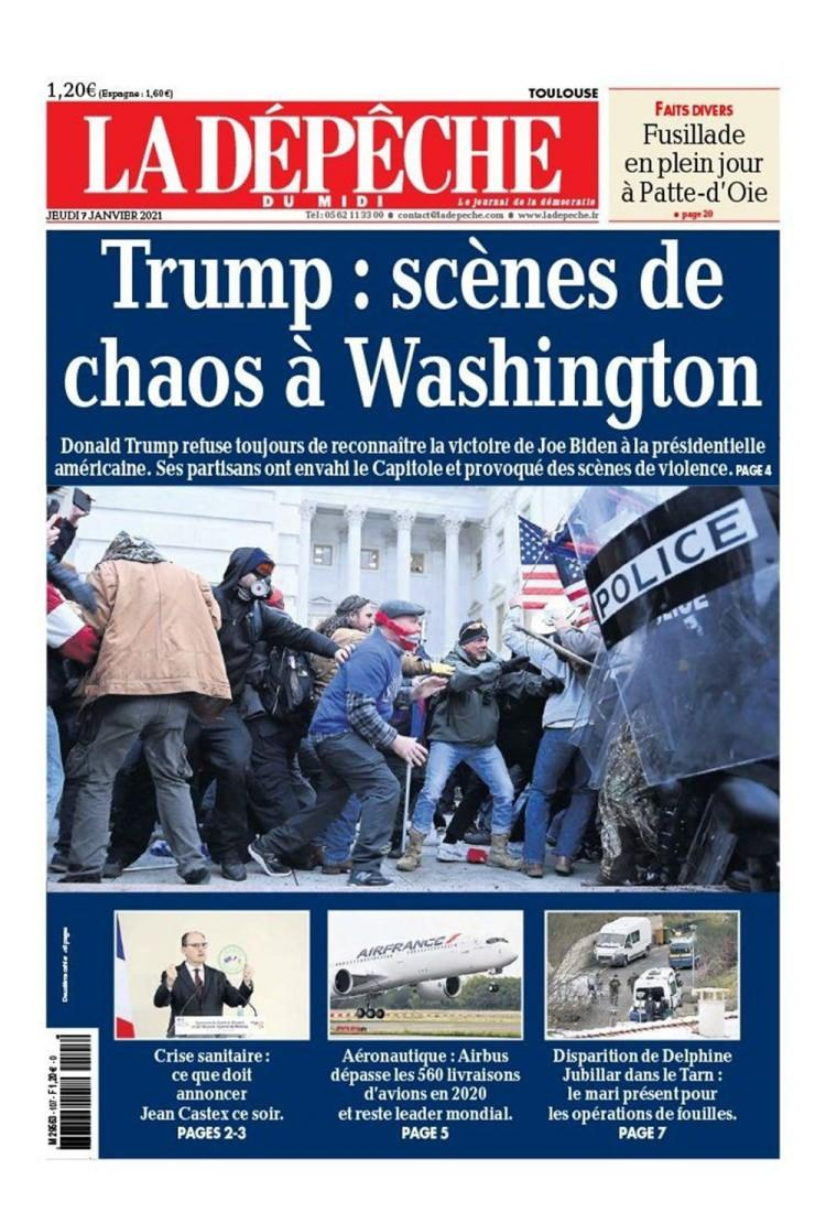 "<p>La Depeche, gazetesinde ise ""Trump: Washington'daki kaostan sahneler"" denildi.</p>"