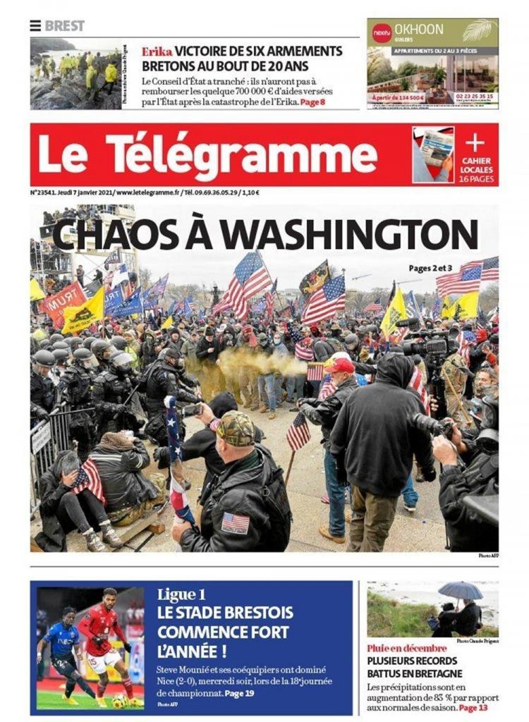 """<p>Fransız Le Telegramme gazetesi de """"Washington'da kaos"""" manşetiyle haberi duyurdu.</p>"""