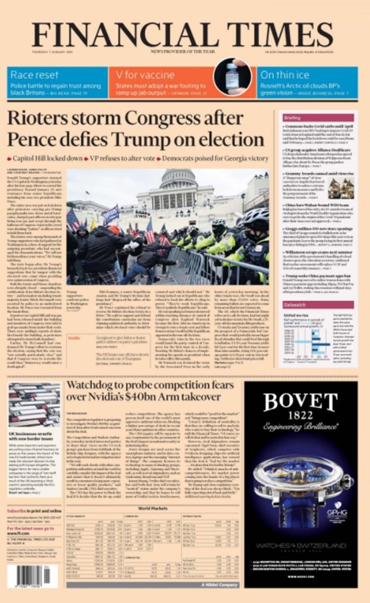 """<p>FT: PENCE MEYDAN OKUDU, KONGRE SALDIRIYA UĞRADI</p>  <p>ABD'nin saygın ekonomi gazetelerinden Financial Times, """"Pence Trump'a meydan okuduktan sonra isyancılar Kongre'ye saldırdı"""" manşetini attı.</p>"""