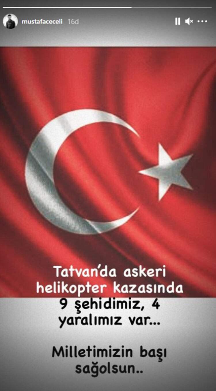 """<p>MUSTAFA CECELİ<br /> Tatvan'da askeri helikopter kazasında dokuz şehidimiz, dört yaralımız var. Milletimizin başı sağolsun.""""</p>"""