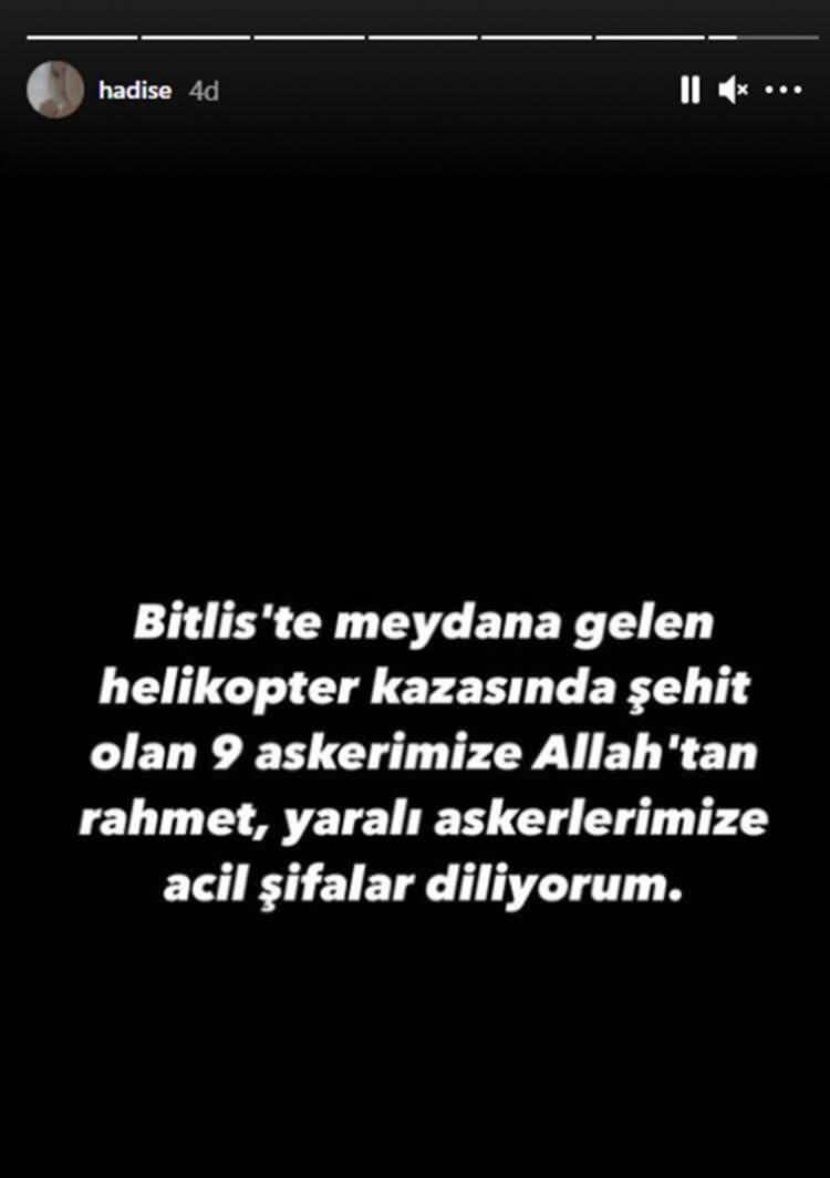 """<p>HADİSE<br /> """"Bitlis'te meydana gelen helikopter kazasında şehit olan dokuz askerimize Allah'tan rahmet, yaralı askerlerimize acil şifalar diliyorum.""""</p>"""