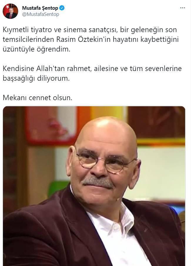 <p>Usta oyuncu Rasim Öztekin için siyasilerden ve sanat camiasından başsağlığı mesajları paylaşıldı...</p>