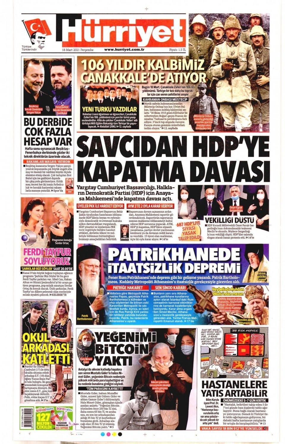 18 Mart 2021 gazete manşetleri - Resim 1