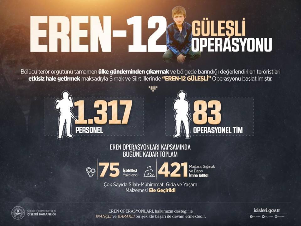<p>Bakanlıktan yapılan açıklamaya göre, bölücü terör örgütünü ülke gündeminden tamamen çıkarmak ve bölgede barındığı değerlendirilen teröristleri etkisiz hale getirmek maksadıyla Şırnak ve Siirt'te, Eren-12 Güleşli Operasyonu başlatıldı.</p>  <p></p>