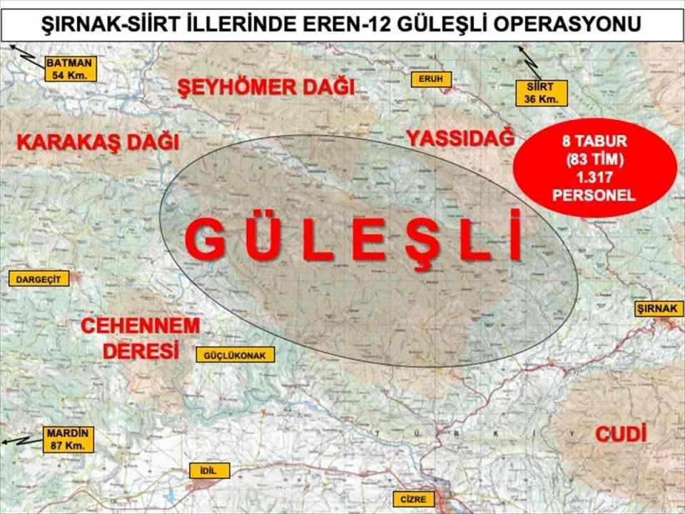 <p>İçişleri Bakanlığı, Şırnak ve Siirt'te 1317 personelin katılımıyla Eren-12 Güleşli Operasyonu'nun başlatıldığını bildirdi.</p>  <p></p>  <p></p>