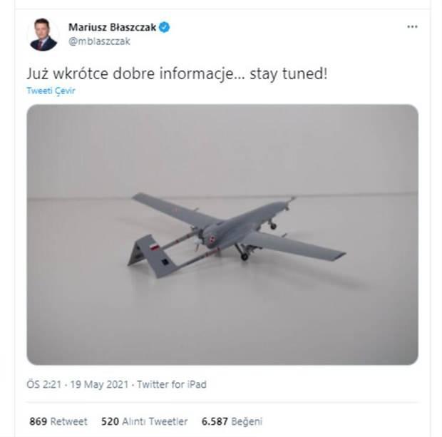 <p>Polonya Savunma Bakanı Mariusz Blaszczak'ın 19 Mayıs tarihinde paylaştığı bir Twitter mesajının askeri çevreler için bir sürpriz olduğunu aktaran SRF, NATO ve Avrupa Birliği üyesi ülkenin 24 Bayraktar TB2 aldığını yazdı.</p>
