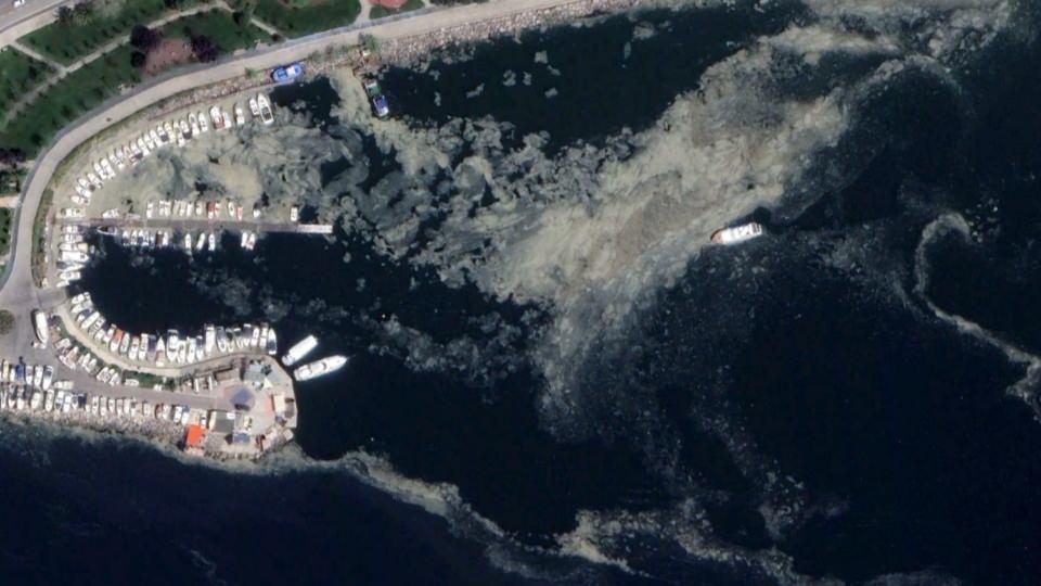 <p>İstanbul sahillerini kilometrelerce kaplayan musilaj(deniz salyası) uzaydan görüntülendi.</p>