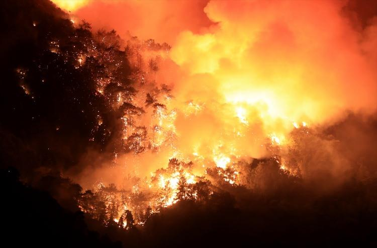 <p>Marmaris'in Armutalan mahallesinde başlayan yangın İçmeler mahallesindeki ormanlık alanlarda ilerliyor.</p>