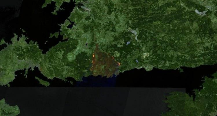 <p><strong>MAZIKÖY - ÇÖKERTME - SONRASI</strong></p>  <p>Tarihler 2 Ağustos'u gösterdiğinde iki bölgeyi kaplayan ormanlar yerini büyük ölçüde kahverengi alana bıraktı. Uydu görüntüsünün alındığı tarihte devam eden yangınları da görmek mümkün.</p>