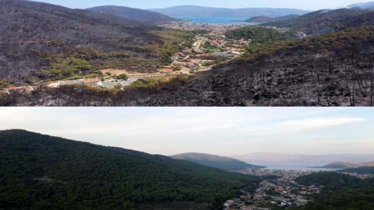 <p>Havadan çekilen görüntülerde yemyeşil ilçe yerleşim yeri hariç tamamen siyaha büründüğü görüldü.<br /> </p>