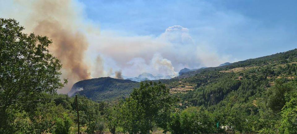 <p>Güğlen Dağında yoğun şekilde devam eden yangın, Güneykaya Mahallesi'ne yönelik bir tehdit oluşturuyor.</p>