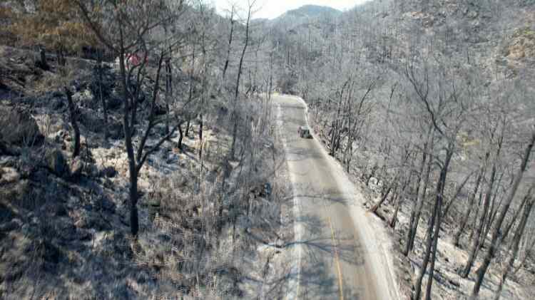 <p>Öncesi ve sonrasında aynı yerden çekilen kareler ise yangının neden olduğu yıkımı net bir şekilde gösteriyor.</p>