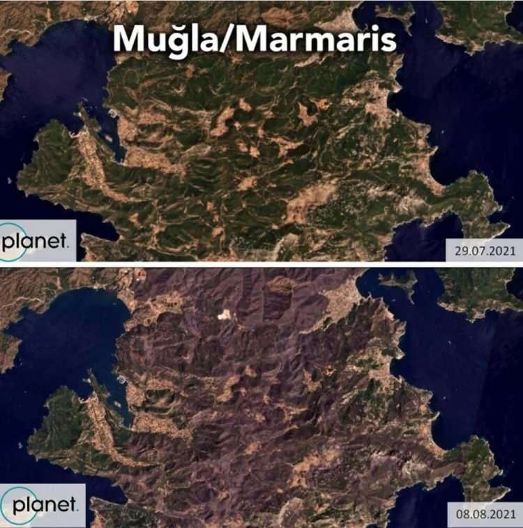 """<p>Çevre ve iklim örgütü Greenpeace'in Türkiye şubesi, Türkiye'de geçen ay sonunda başlayan, kısa sürede pek çok ilde eş zamanlı şekilde yaşanan ve iki hafta süren orman yangınlarının pek çok bölgede yol açtığı tahribatı ortaya koyan uydu görselleri paylaştı. Yangın öncesi ve sonrası görüntüleri içeren uydu fotoğrafları oluşan tahribatın boyutunu ortaya koyuyor.</p> <p>  </p> <p></p> <p> """"/> <img src="""