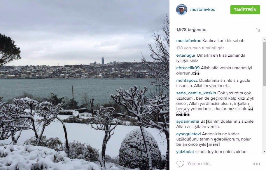 """<p>Koç Holding Yönetim Kurulu Başkanı Mustafa Koç, geçirdiği kalp krizi sebebiyle hastaneye kaldırıldı. Mustafa Koç, iki gün önce 27 bin takipçisinin bulunduğu İnstagram hesabından kar manzaralı bir fotoğraf paylaştı. """"Kanlıca karlı bir sabah"""" notuyla paylaştığı fotoğrafı bin 943 kişi beğendi.</p>  <p>Mustafa Koç'un kalp krizi geçirmesinin ardından takipçileri, fotoğrafın altına geçmiş olsun mesajları yazdı.</p>"""