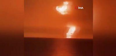 Hazar Denizi'nde patlamanın meydana geldiği Çamur Volkanı görüntülendi