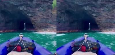 Nefes kesen video! İçinden şelale akan dünyanın en uzun deniz mağarası...