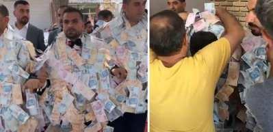Aşiret düğününde damada takılan para şoke etti