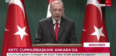 Erdoğan: Doğu Akdeniz'deki mevcut durumun müsebbibi Rum-Yunan ikilisidir
