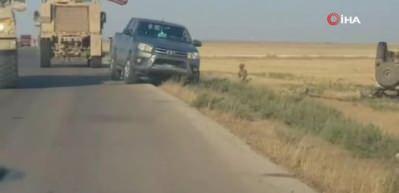 Suriye'de ABD'nin askeri aracı devrildi!