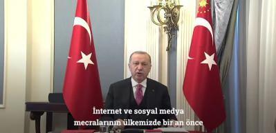 """Cumhurbaşkanı Erdoğan: """"İnternet ve sosyal medya mecralarının ülkesinde bir an önce hukuki ve mali muhataplık tesis etmeleri için ne gerekiyorsa yapmakta kararlıyız"""""""