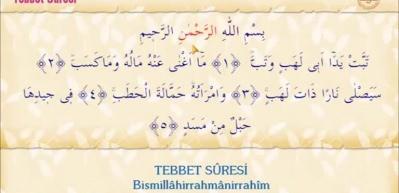 Tebbet Suresi Arapça okunuşu! Tebbet Suresi meali