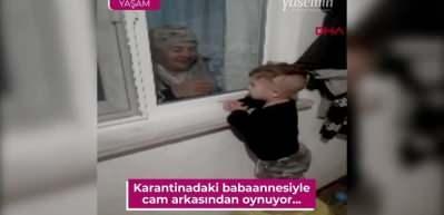 Yürek yakan fotoğraf! Koronavirüs'e yakalanan babaannesiyle pencereden görüşebiliyor