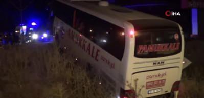 Afyon'da yolcu otobüsü şarampole yuvarlandı